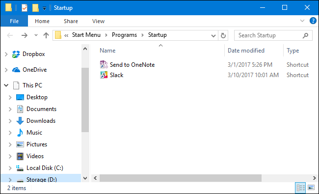 Windows 10 Startup Window