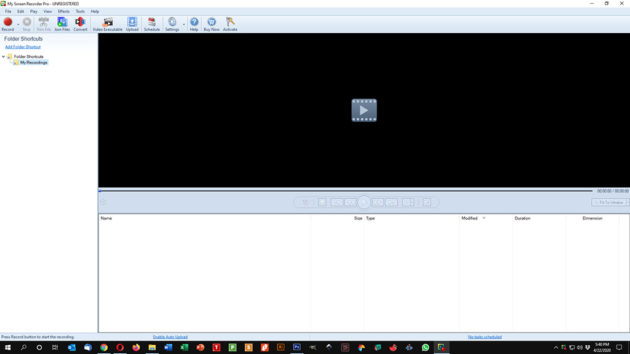 My Screen Recorder Pro Start Screen
