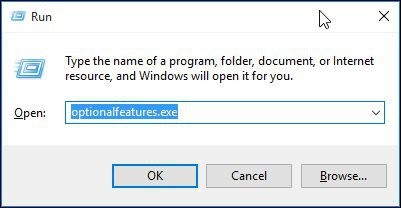 Optionalfeatures.exe command