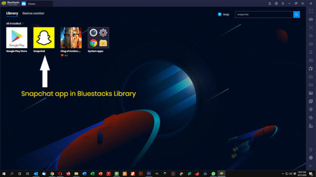 snapchat app in Bluestacks library
