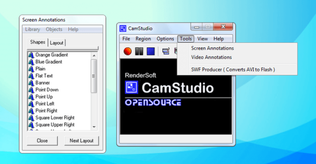 CamStudio Screen recording tool interface