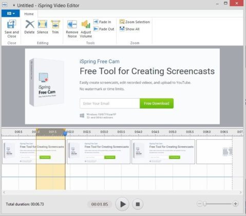 Free Cam screen recording tool interface