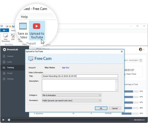 Upload videos directly to YouTube channel right from the Free Cam taskbar