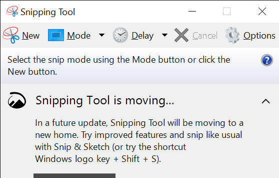 Snipping tool Windows 10 Interface