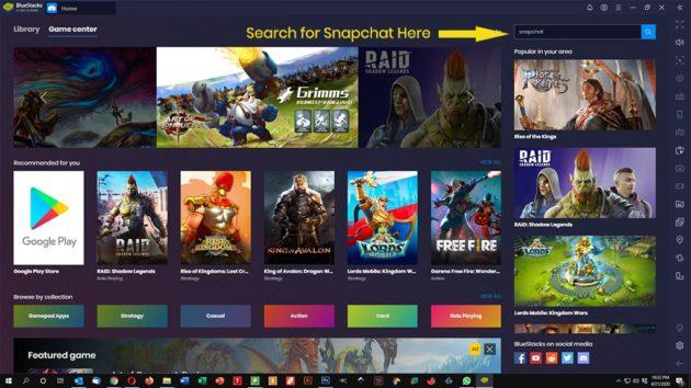 Use Snapchat on PC and Mac - launch Bluestacks - Search Snapchat