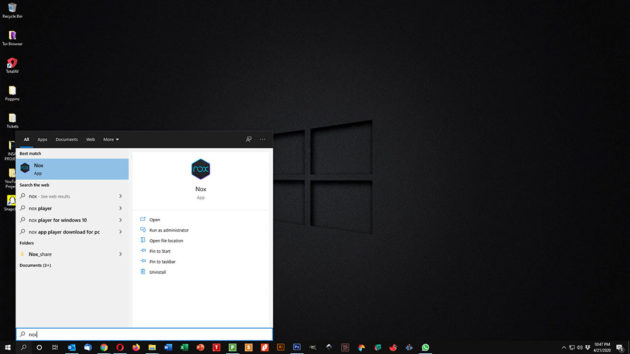 Use Snapchat on PC and Mac - Search NoxPlayer in Start Menu