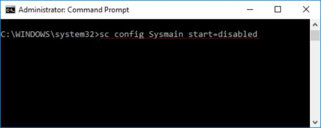 Config Sysmain Start command to fix high disk usage