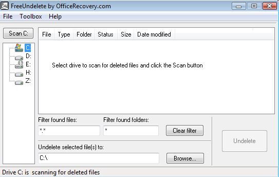 FreeUndelete Data Recovery Software Interface