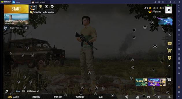 pubg gaming start button on bluestacks emulator
