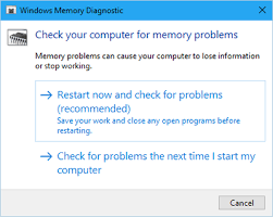 Windows Memory Diagnostic interface