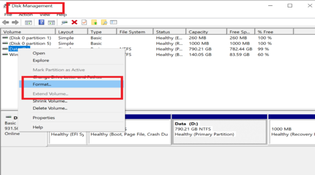 Disk formatting interface
