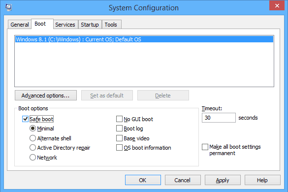 Safe Mode interface