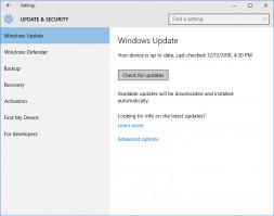 Windows 10 Update interface