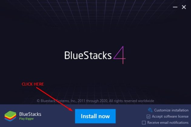 Install Bluestacks emulator on Windows 10