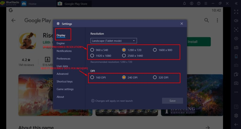 Bluestacks Settings Windows-Display